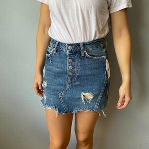 We The Free Distressed Button Fly Denim Mini Skirt